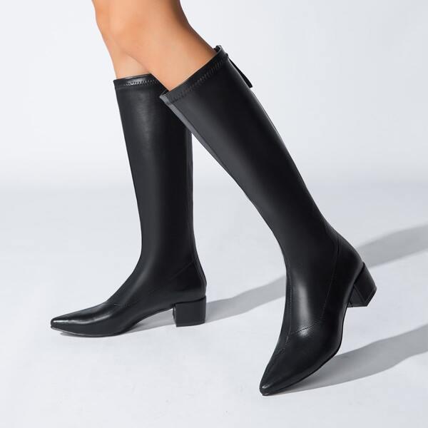 Minimalist Back Zipper Chunky Heeled Boots, Black