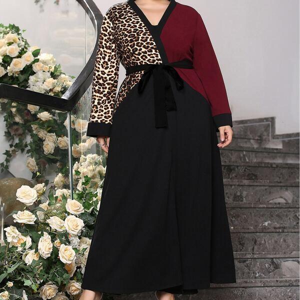 Plus Leopard Print Color Block Belted Abaya, Multicolor
