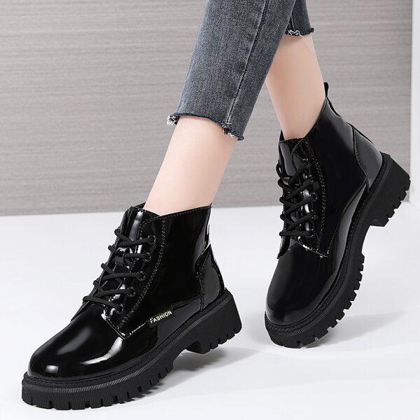 Minimalist Lace-up Front Combat Boots, Black