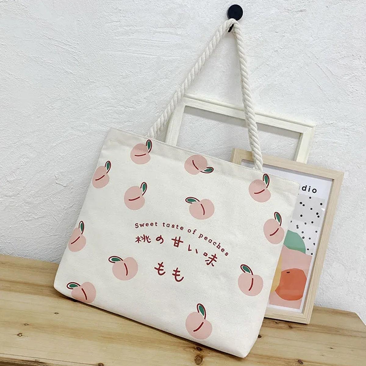 Peach Graphic Canvas Tote Bag
