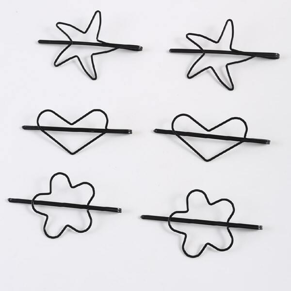 6pcs Heart & Starfish Decor Hair Clip, Black