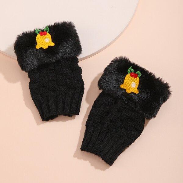 Christmas Bell Decor Fingerless Gloves, Black