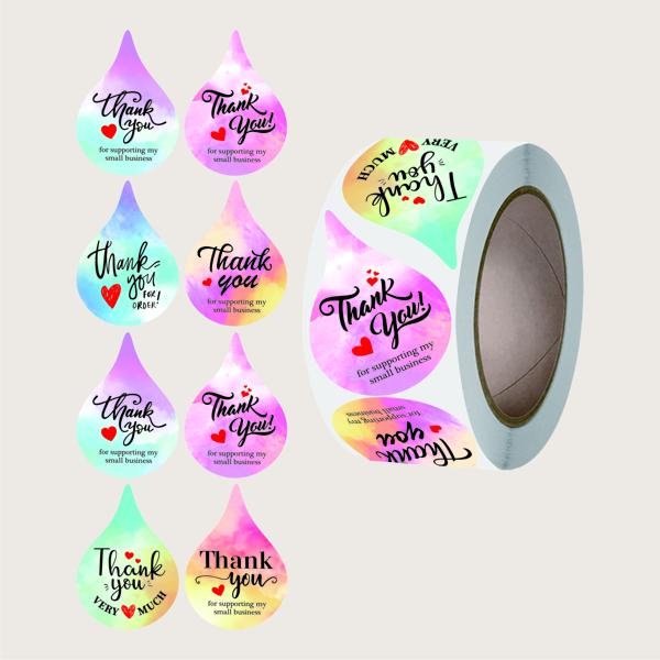 1roll Slogan Graphic Gift Sticker, Multicolor