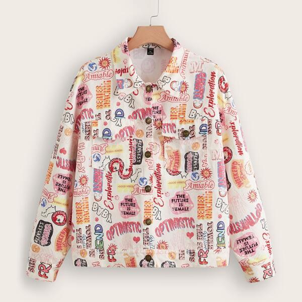 Plus Pop Art Print Drop Shoulder Flap Pocket Corduroy Jacket, Multicolor