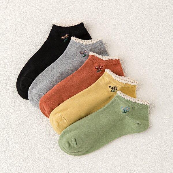5pairs Flower Pattern Ankle Socks, Multicolor