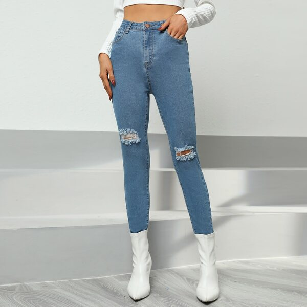 Button Fly Ripped Jeans, Light wash