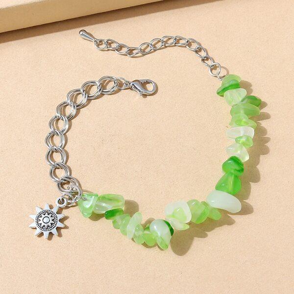 Sun Charm Stone Beaded Bracelet, Green