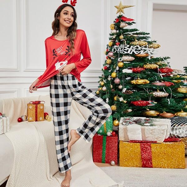 Christmas Print Tee & Buffalo Plaid Print Pants PJ Set, Multicolor