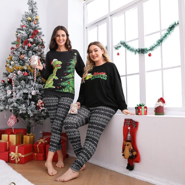 Plus 1pc Christmas Geo Print Leggings, Black and white