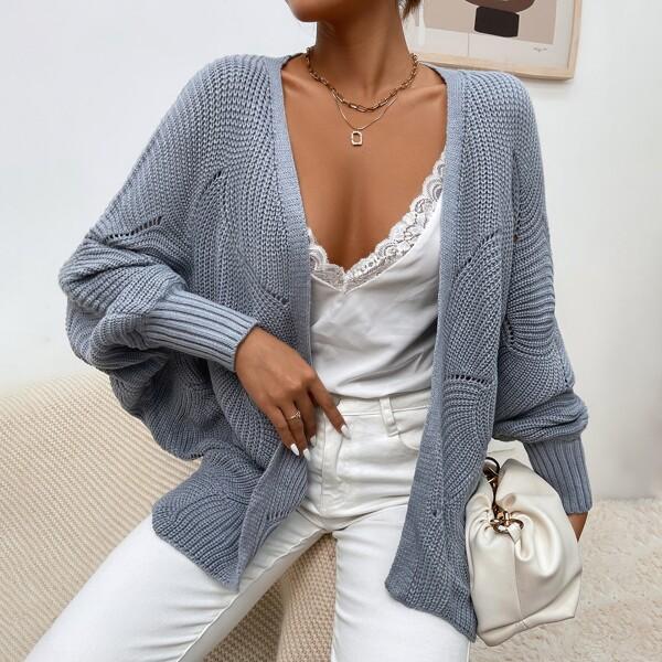 Pointelle Knit Batwing Sleeve Cardigan, Grey