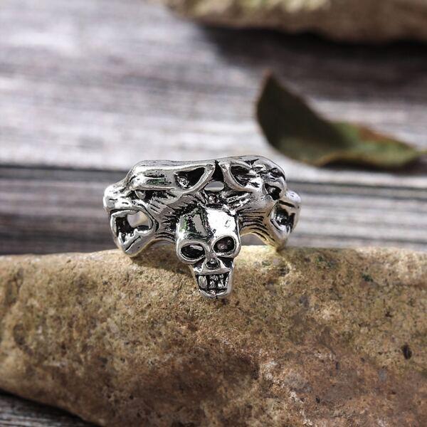 Skull Decor Ring, Antique silver