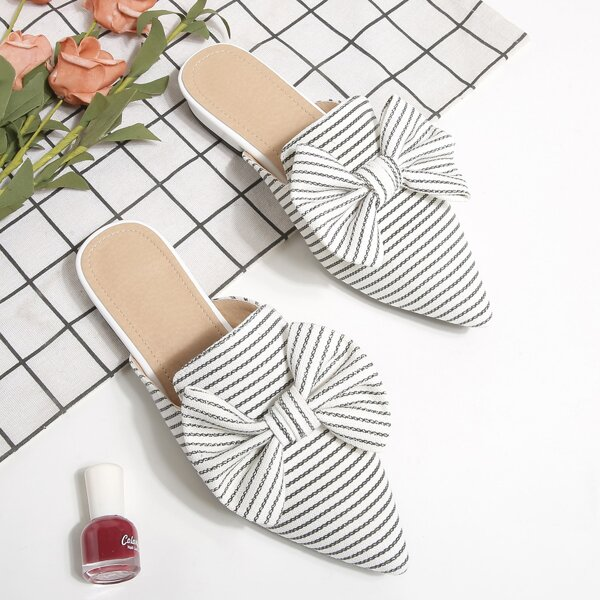 Striped Pattern Bow Decor Point Toe Flat Mules, Black and white