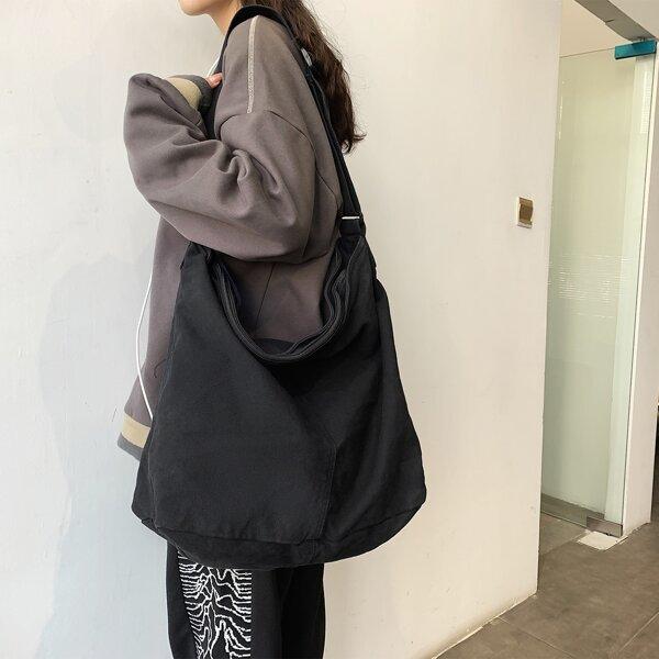 Minimalist Large Capacity Shoulder Bag, Black