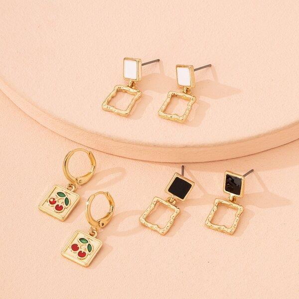 3pairs Fruit & Geometric Drop Earrings, Gold