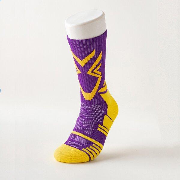 1pair Men Non-slip Sports Socks, Multicolor
