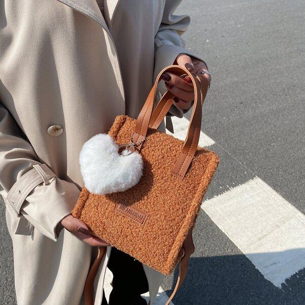 Minimalist Fluffy Satchel Bag With Heart Bag Charm, Brown