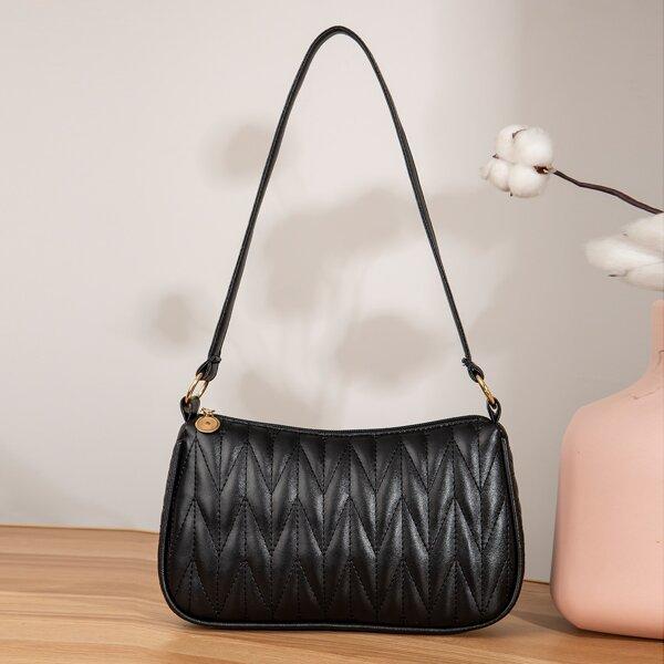 Quilted Baguette Bag, Black