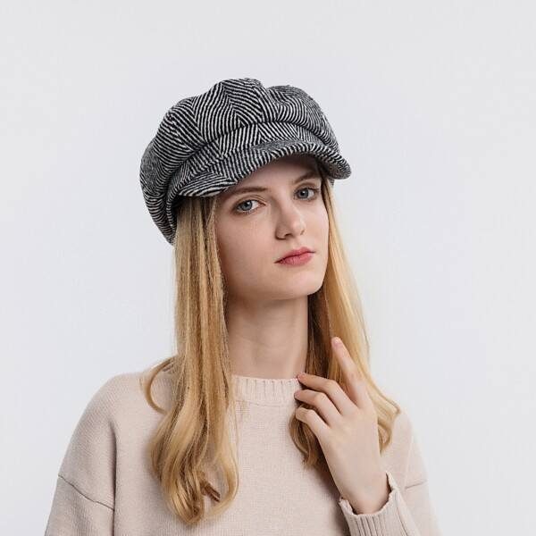 Striped Baker Boy Hat, Black and white
