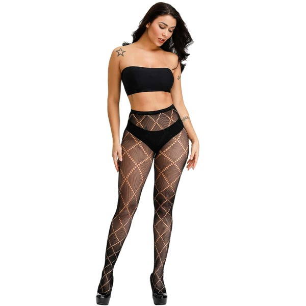 Hollow Out Fishnet Tights, Black