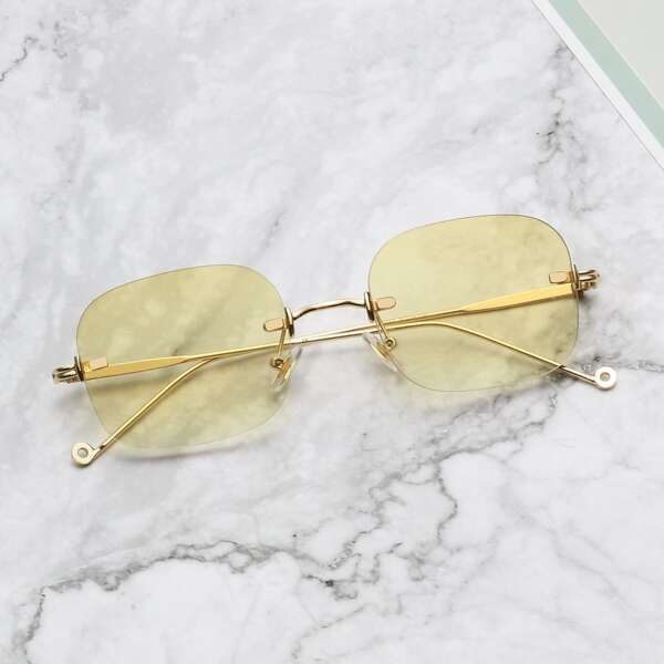 Men Tinted Lens Rimless Sunglasses, Yellow