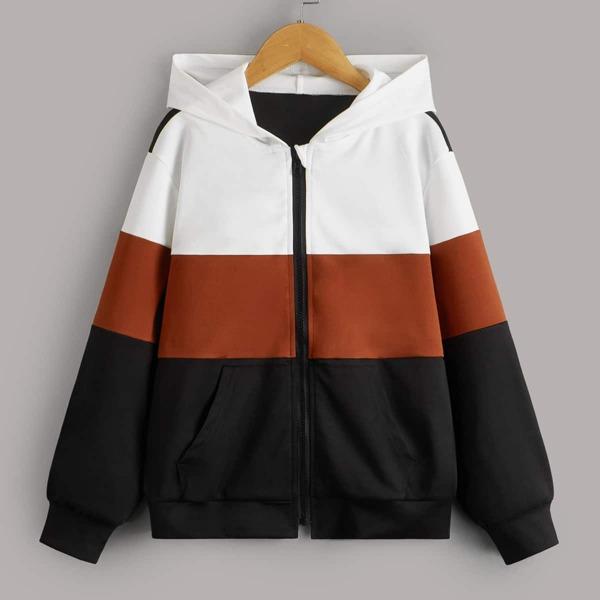 Boys Zipper Fly Colorblock Jacket, Multicolor