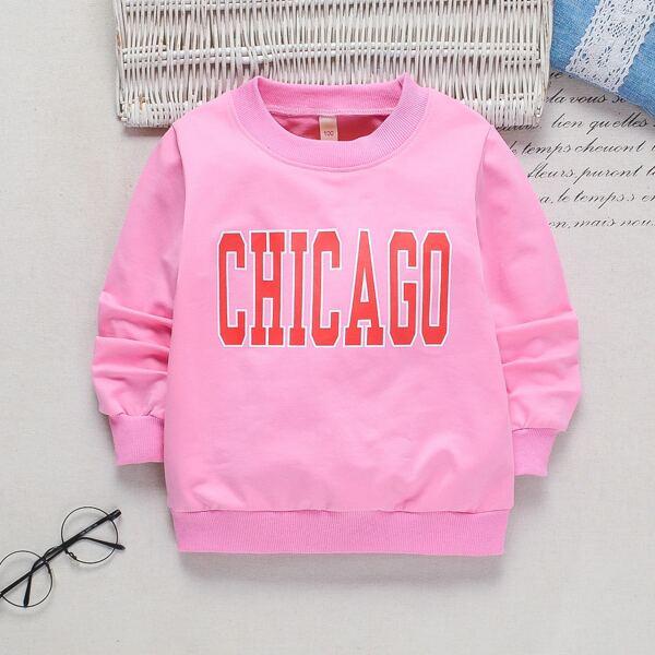Toddler Girls Letter Graphic Sweatshirt, Pink