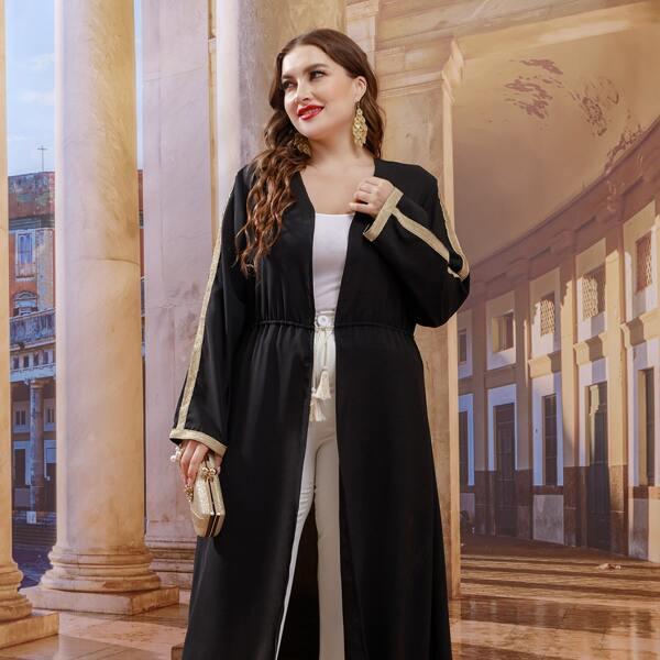 Plus Contrast Tape Tassel Detail Drawstring Waist Abaya, Black