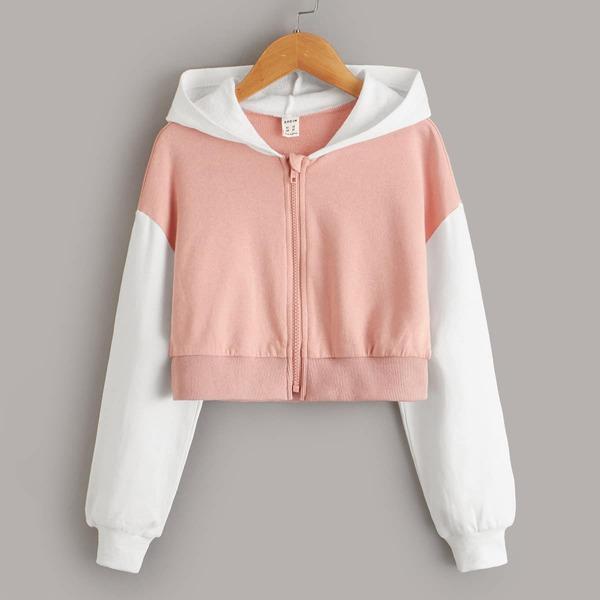 Girls Colorblock Zip Up Sweatshirt, Coral pink