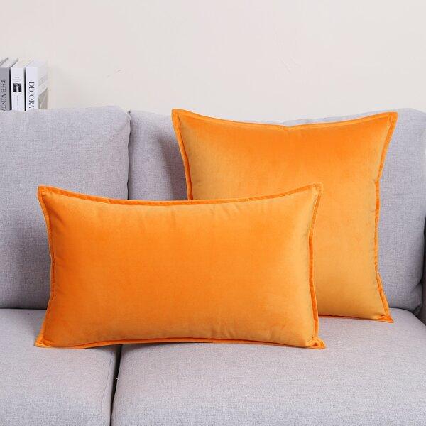 1pc Plain Cushion Cover Without Filler, Orange