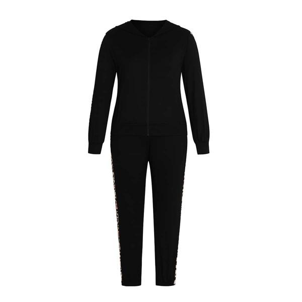 Plus Contrast Panel Trim Zip-up Hoodie & Sweatpants, Black