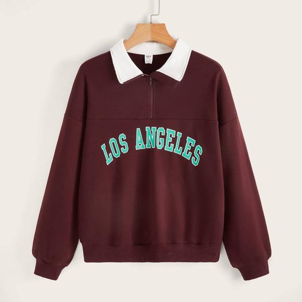 Teen Girls Contrast Collar Letter Graphic Sweatshirt, Burgundy