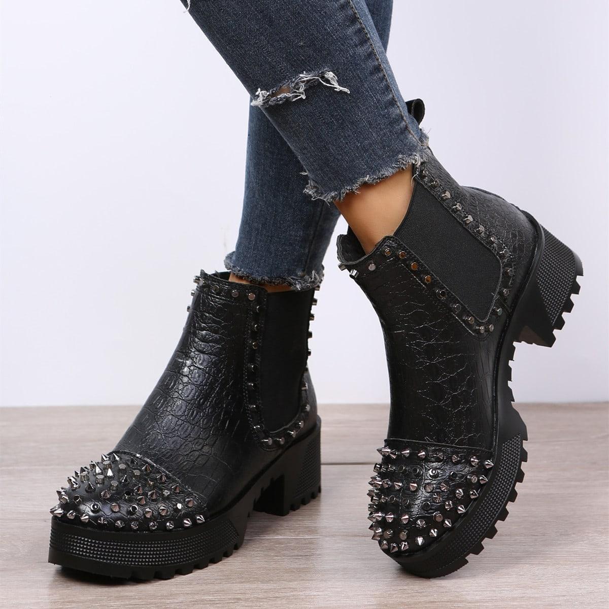 Studded Decor Crocodile Embossed Chelsea Boots