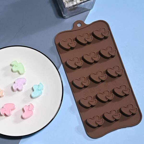 1pc Heart Design Silicone Mold, Chocolate brown