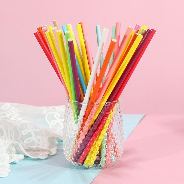 25pcs Random Color Disposable Straw, Multicolor