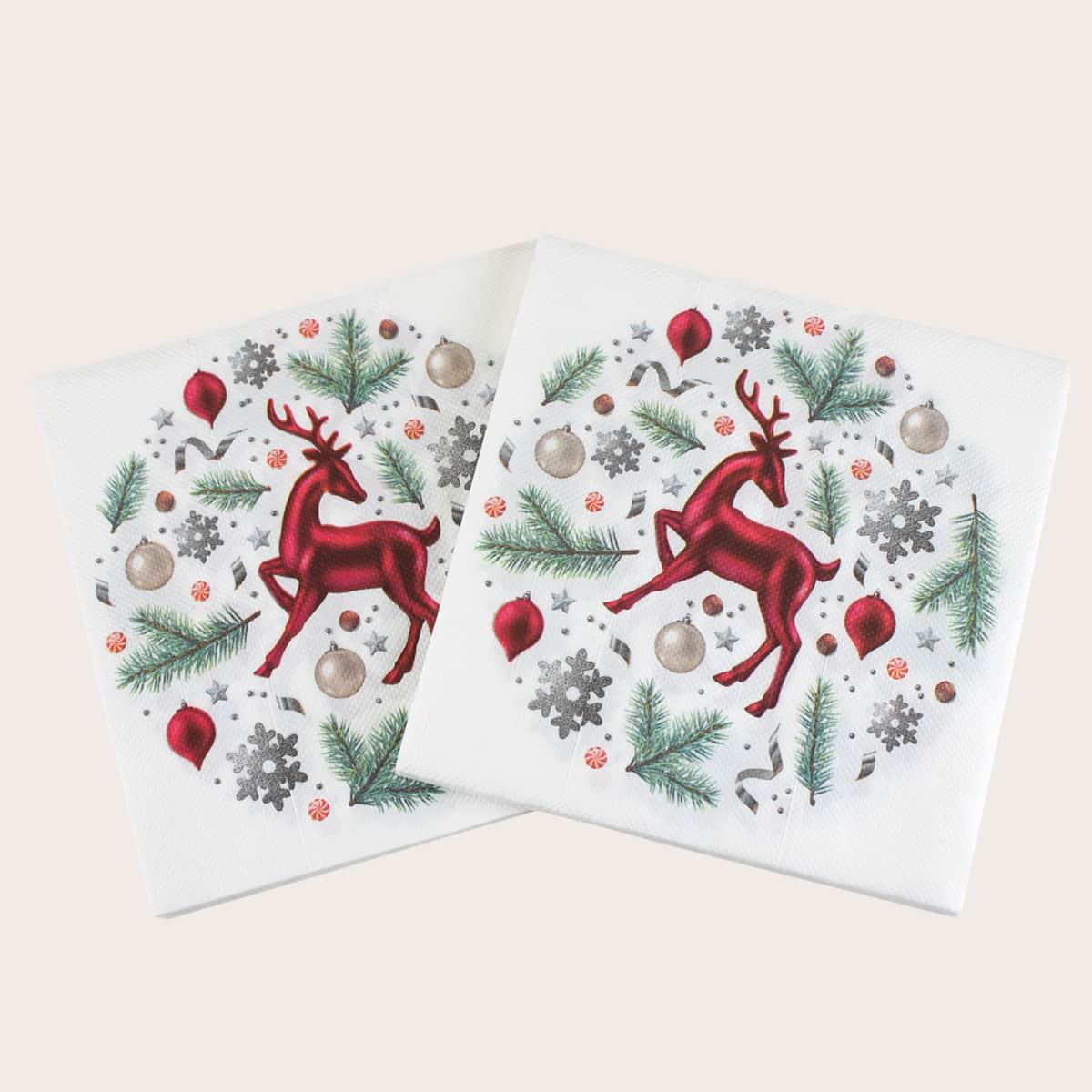20pcs Christmas Deer Print Disposable Napkin