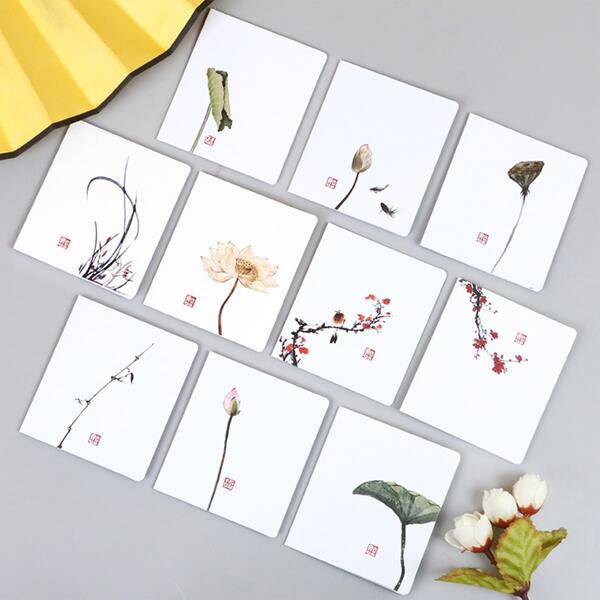 8pcs Flower Print Random Greeting Card, Multicolor