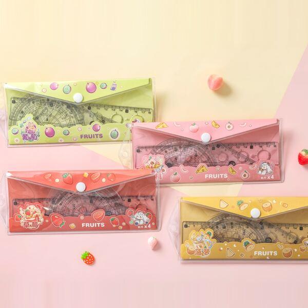 4pcs Random Soft Ruler Set, Multicolor