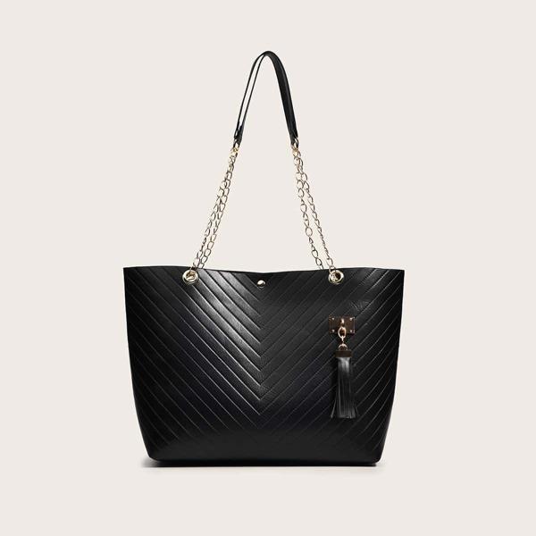 Chevron Quilted Tassel Decor Chain Shoulder Tote Bag, Black