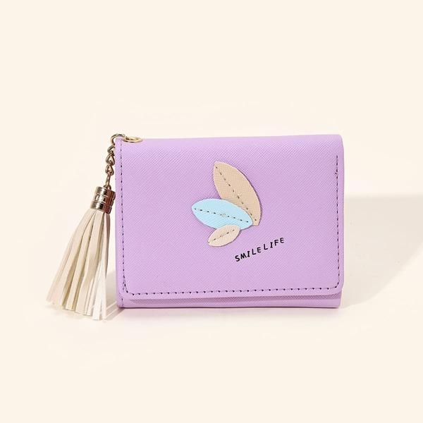 Letter Graphic Tassel Decor Applique Small Wallet, Purple