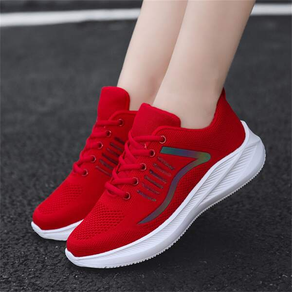 Reflective Detail Breathable Running Shoes, Red