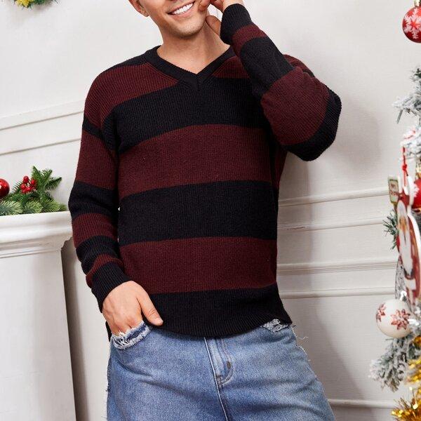 Men Striped Pattern V Neck Sweater, Multicolor