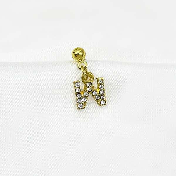 1pc Rhinestone Letter Drop Earring, Gold