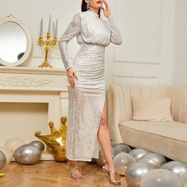Split Thigh Sequins Bridesmaid Dress, Silver