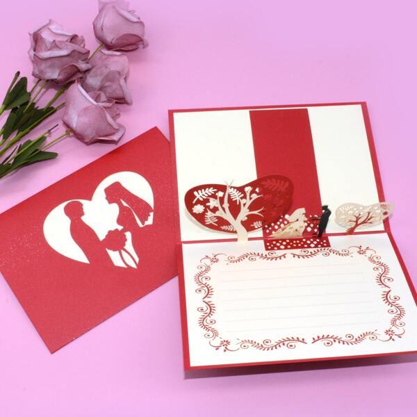 1pc Random 3D Couple Greeting Card, Multicolor
