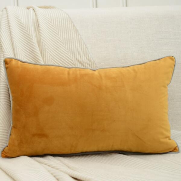 1pc Plain Lumbar Pillow Cover Without Filler, Yellow