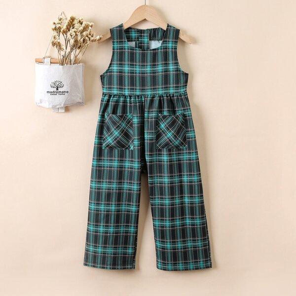 Toddler Girls Tartan Dual Pocket Jumpsuit, Multicolor