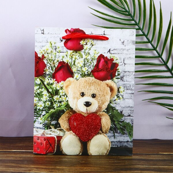 1pc Bear & Rose Pattern Gift Bag, Multicolor