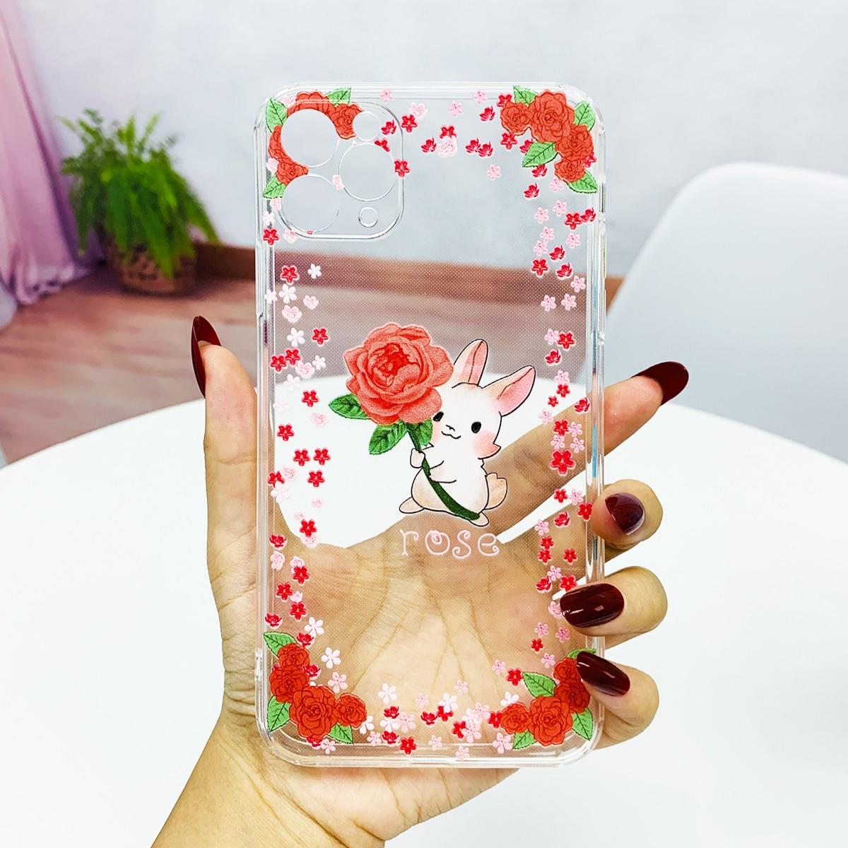 Прозрачный чехол для телефона роза рисунок