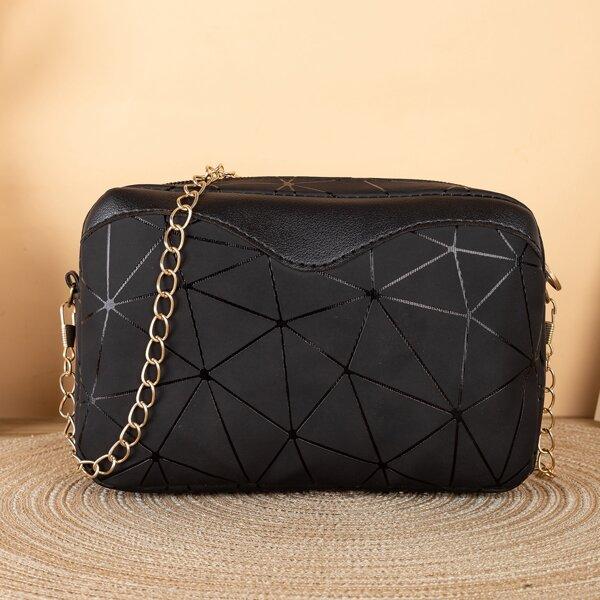 Geometric Pattern Chain Crossbody Bag, Black