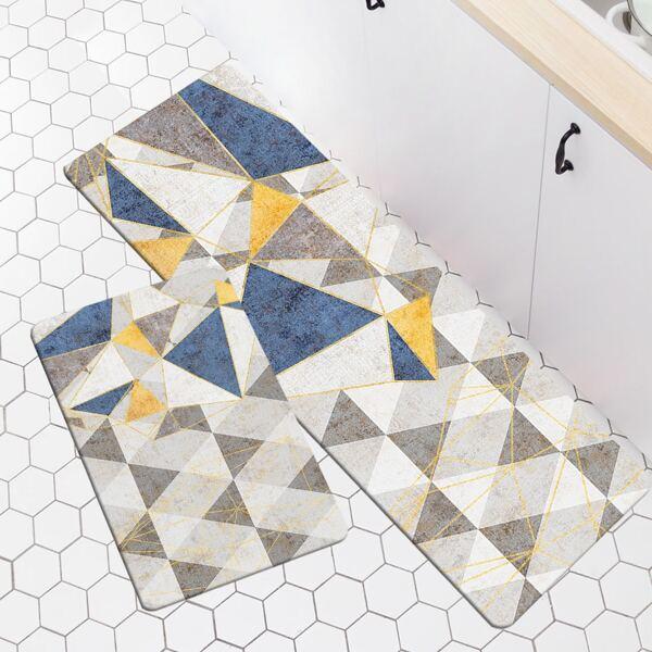 1pc Geometric Pattern Kitchen Rug, Multicolor